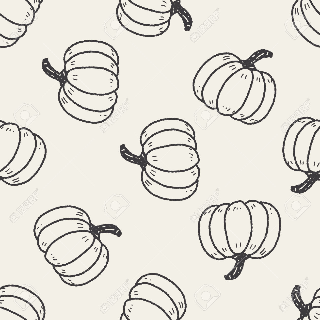 Pumpkin Doodle Seamless Pattern Background Royalty Free Cliparts.