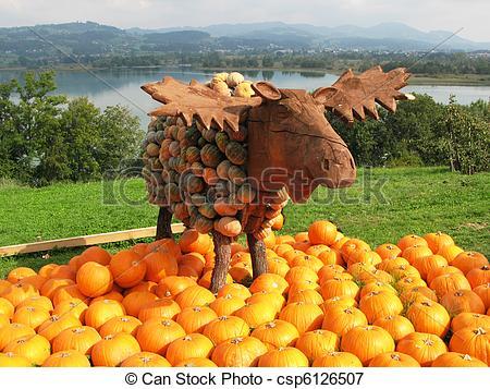 Picture of Moose sculpture at a pumpkins exhibition csp6126507.