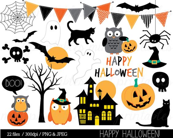 Halloween Clipart, Haloween Owl Clip Art, Bunting Spider Pumpkin.