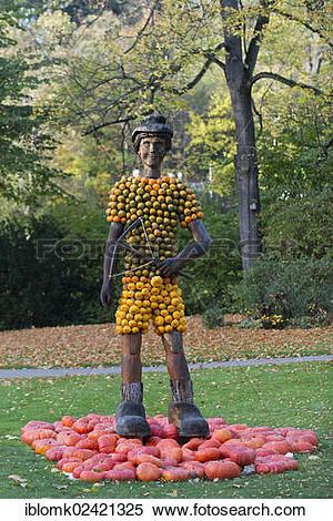 Stock Image of Figure of William Tell, pumpkins, pumpkin.