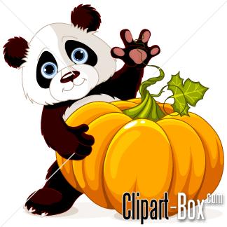 CLIPART PANDA WITH PUMPKIN.