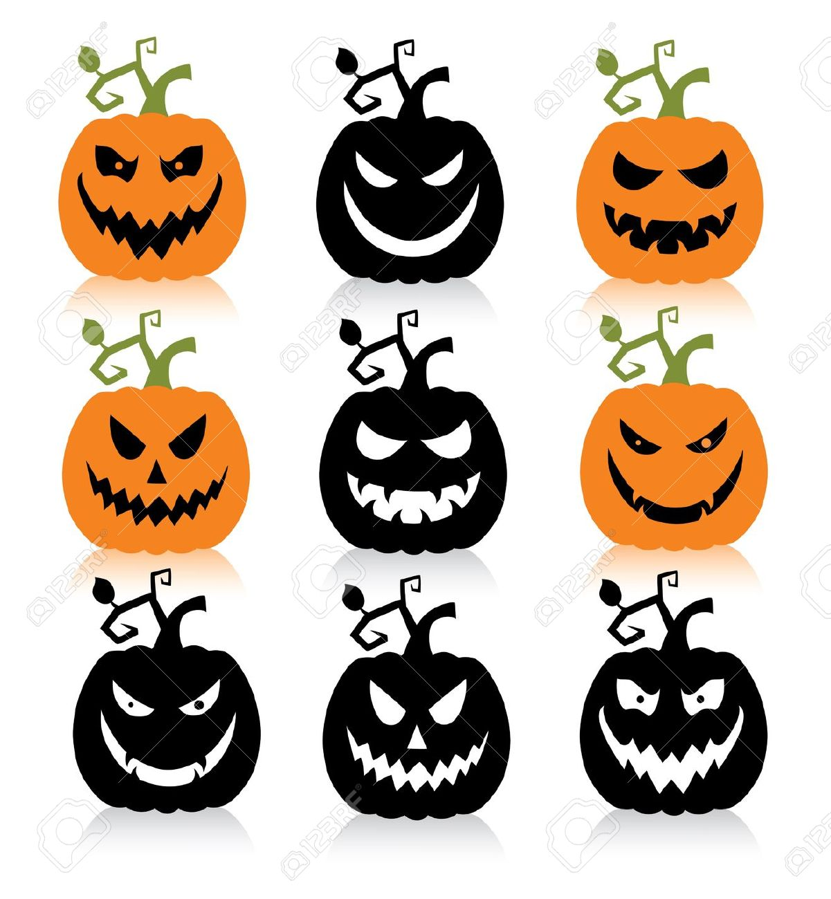 Set Of A Scary Halloween Pumpkin. Royalty Free Cliparts, Vectors.