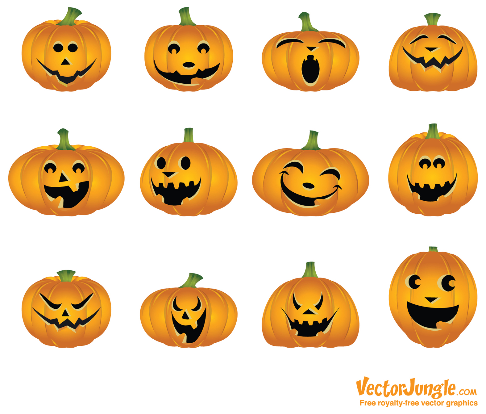 Cute Pumpkins Face Clipart.