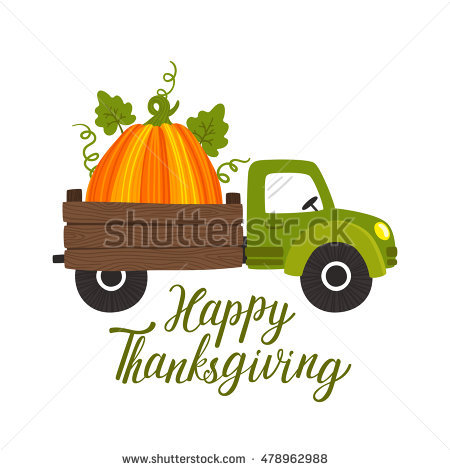 Vector Thanksgiving Background With Truck Car, Big Pumpkin And.