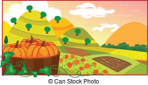 Pumpkin field Vector Clipart Royalty Free. 619 Pumpkin field clip.