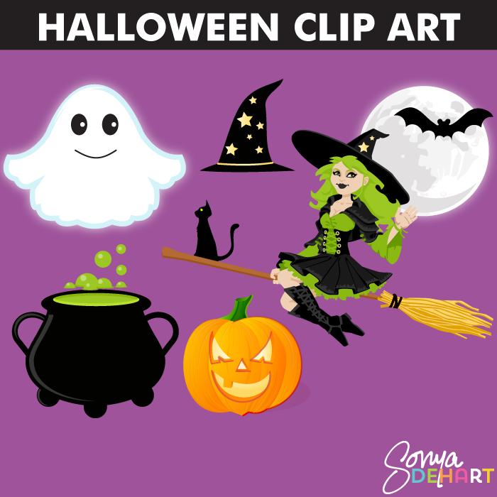 Clip Art Halloween Set Witch Ghost Cauldron Bat Moon and Pumpkin.