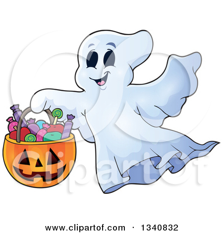 Clipart of a Cartoon Happy Halloween Ghost with a Pumpkin Basket.