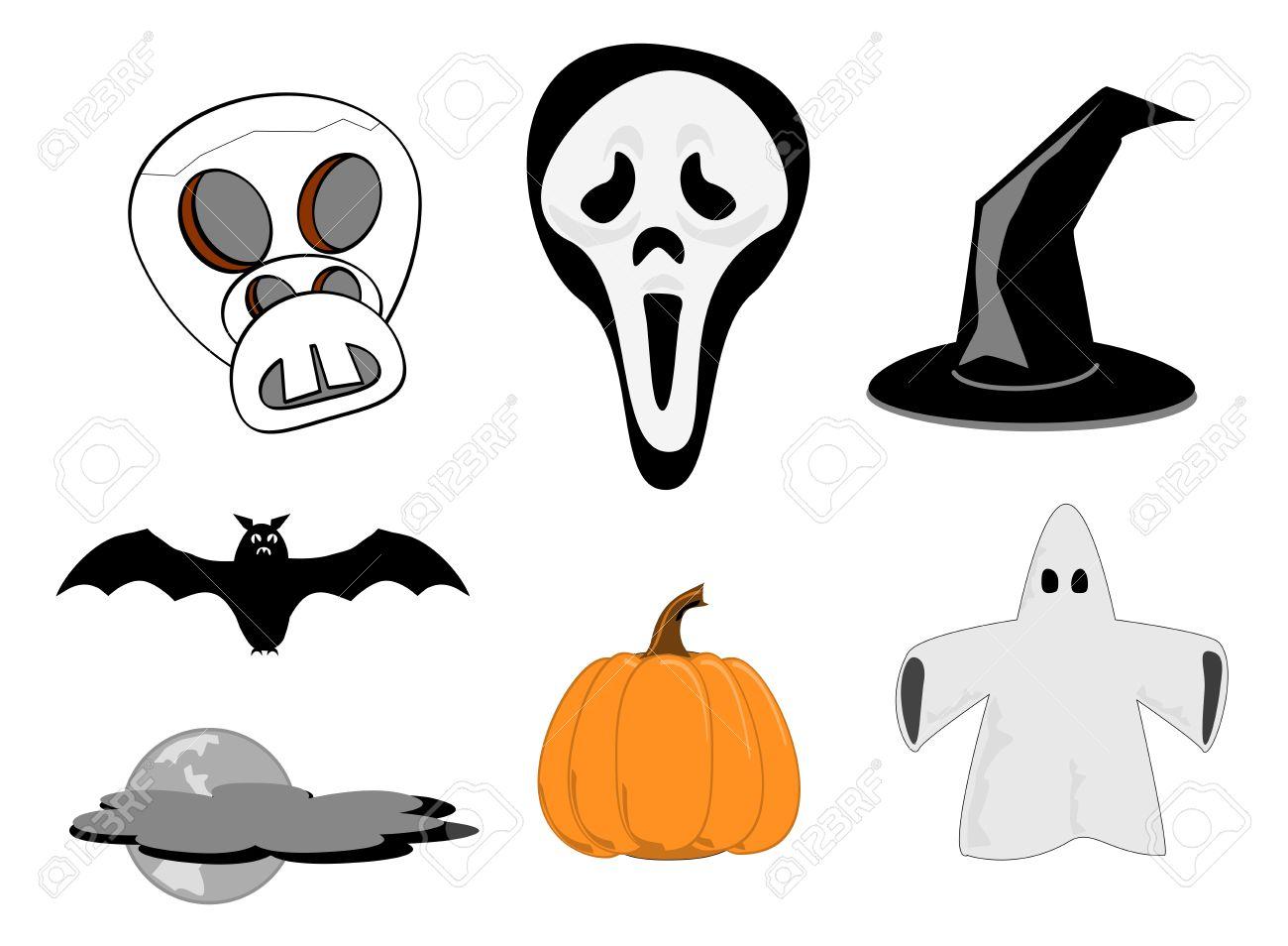 Halloween Clipart Skull Screm Mask Witches Hat Bat Pumpkin Moon.