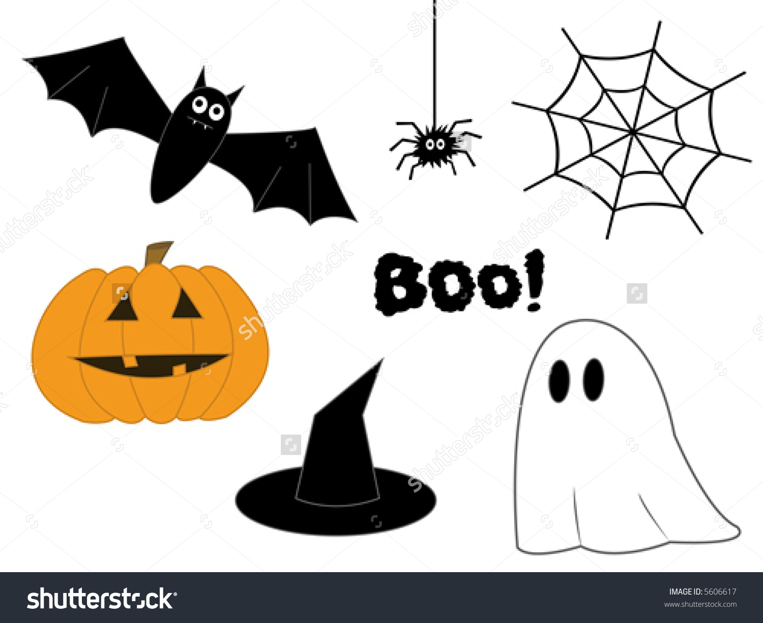 Halloween Clipart Pumpkin Bat Spider Web Stock Vector 5606617.