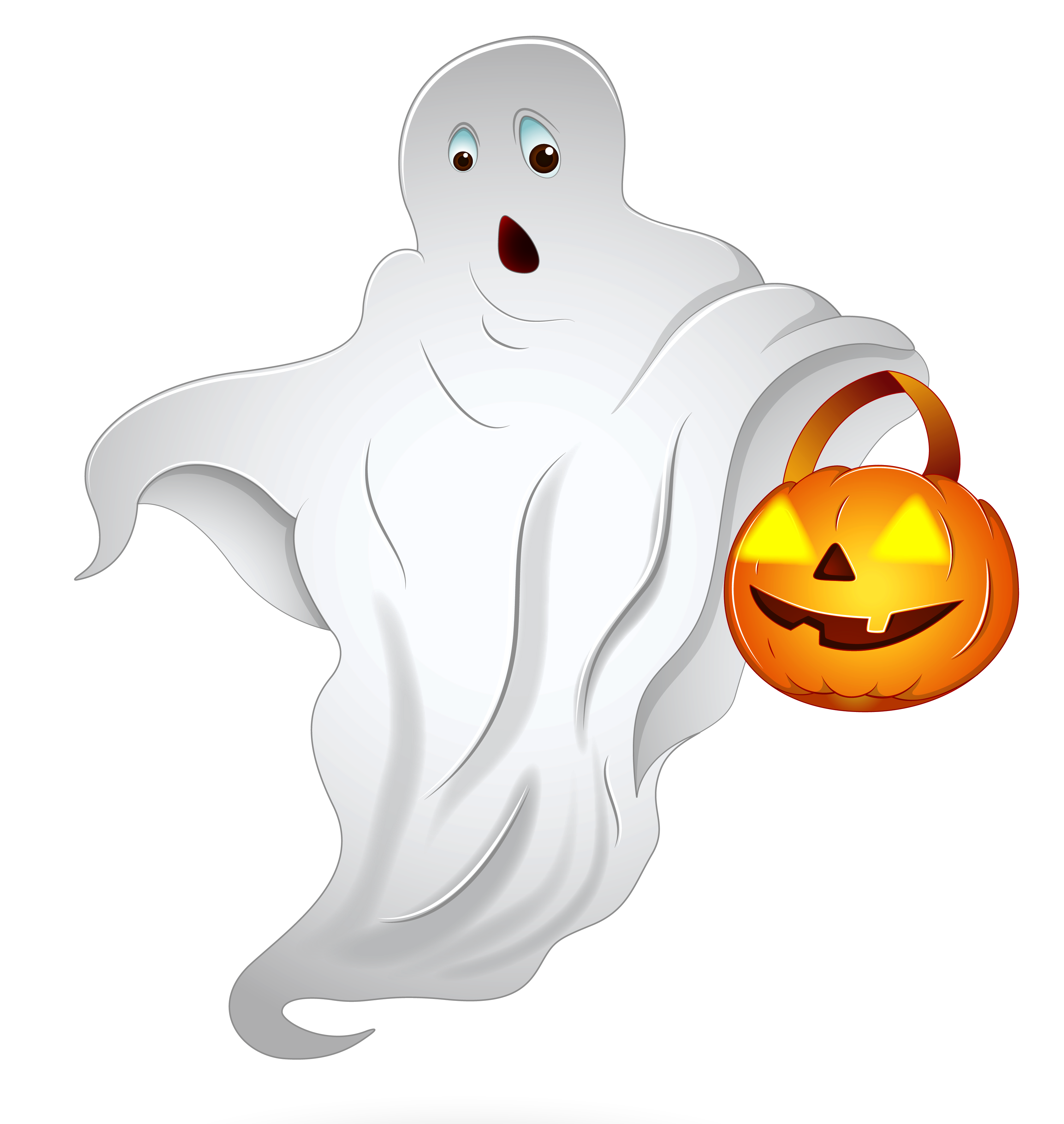 Halloween Ghost with Pumpkin Basket PNG Clipart.