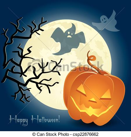 Clip Art Vector of Pumpkin, ghosts and a tree in front of the moon.