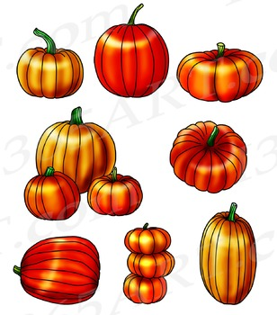 Autumn Halloween 8 Pumpkins Clipart and Scrapbooking Graphic Set.