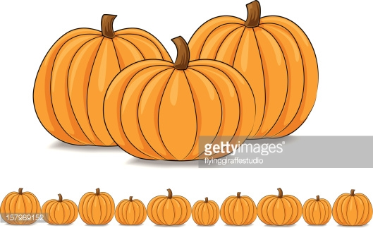 Group And Row Of Pumpkins Vector Art.