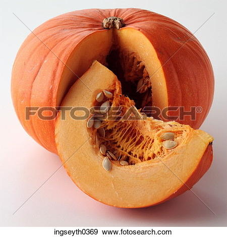 Stock Photograph of pumpkin, half, seeds, whole, food, diet.