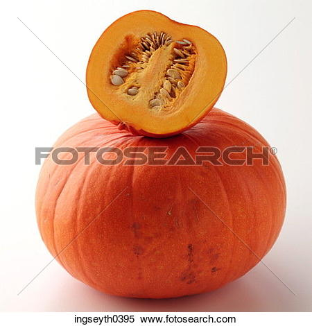 Stock Image of pumpkin, half, seeds, whole, food, diet, nutritian.