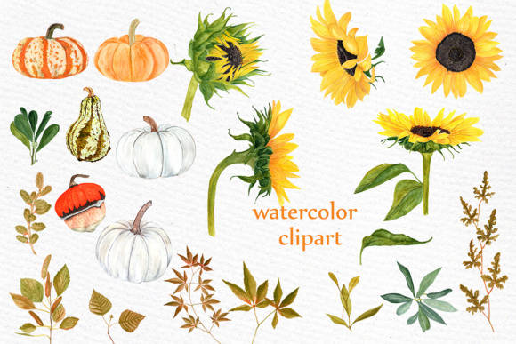 Watercolor Sunflower clipart Pumpkin clipart Sunflower wedding Yellow  Flower clipart Harvest clipart Thanksgiving.