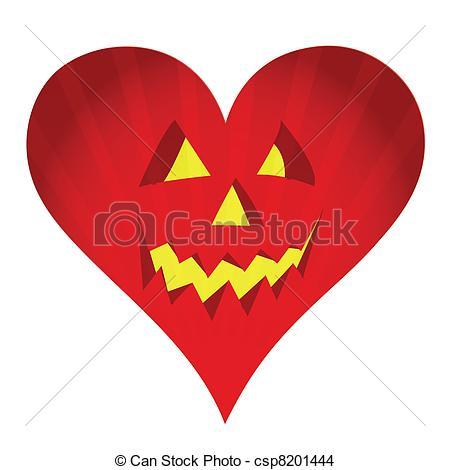EPS Vector of red pumpkin face heart illustration design on white.