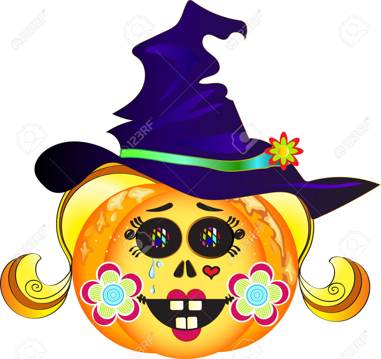 Illustration Of Smiling Halloween Pumpkin With Hat, Colorful.
