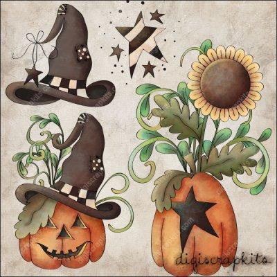 Pumpkin Hollow 2 Clip Art Set : Digi Scrap Kits.