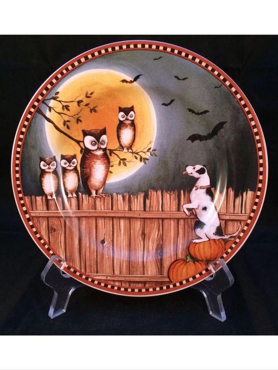 David Carter Brown Pumpkin Hollow Dog Fence Bats Owls Halloween.