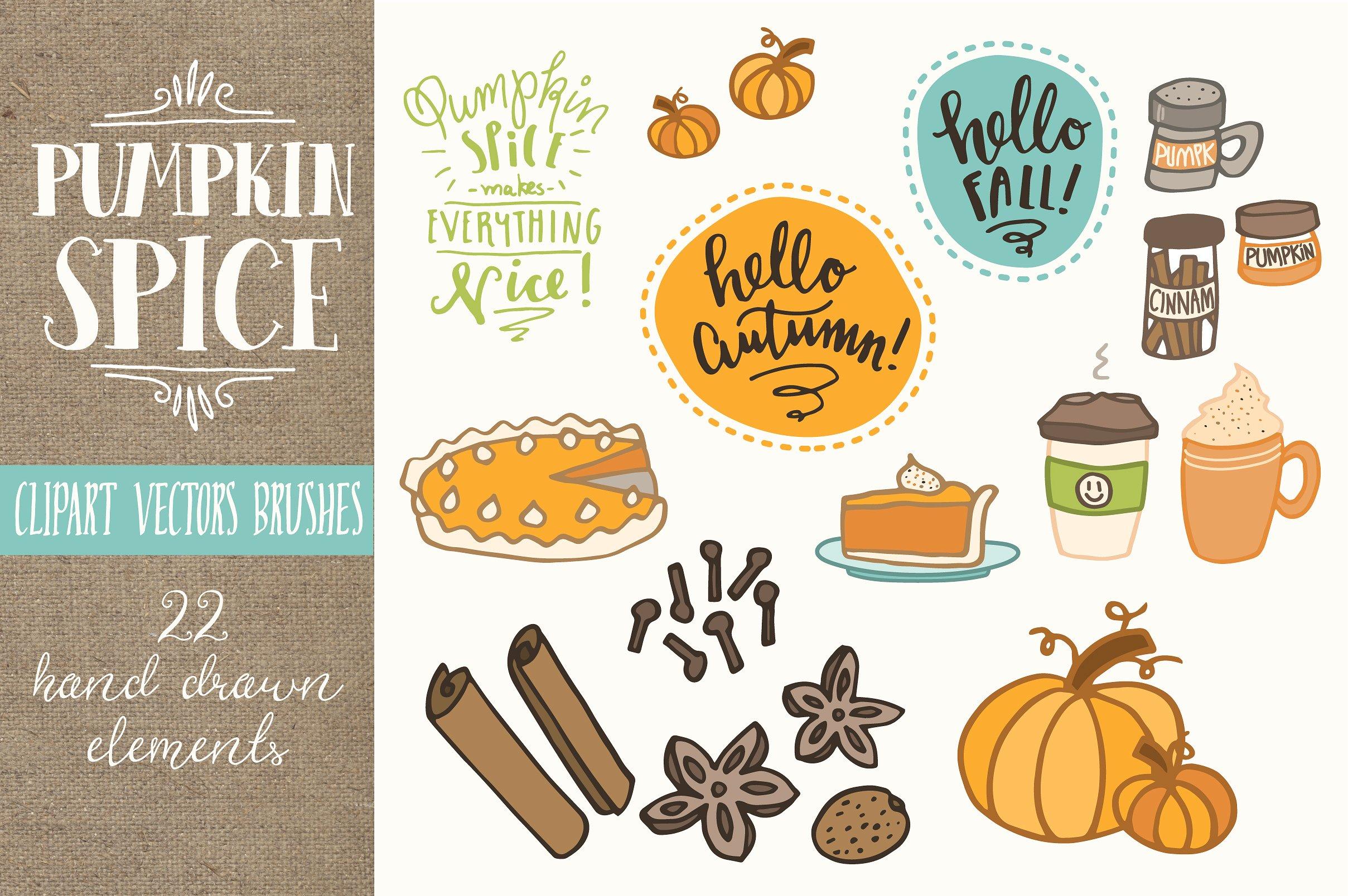 Pumpkin Spice Clip Art Set.