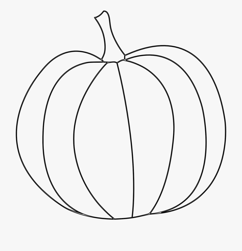 Pumpkin Line Drawing Clip Art.