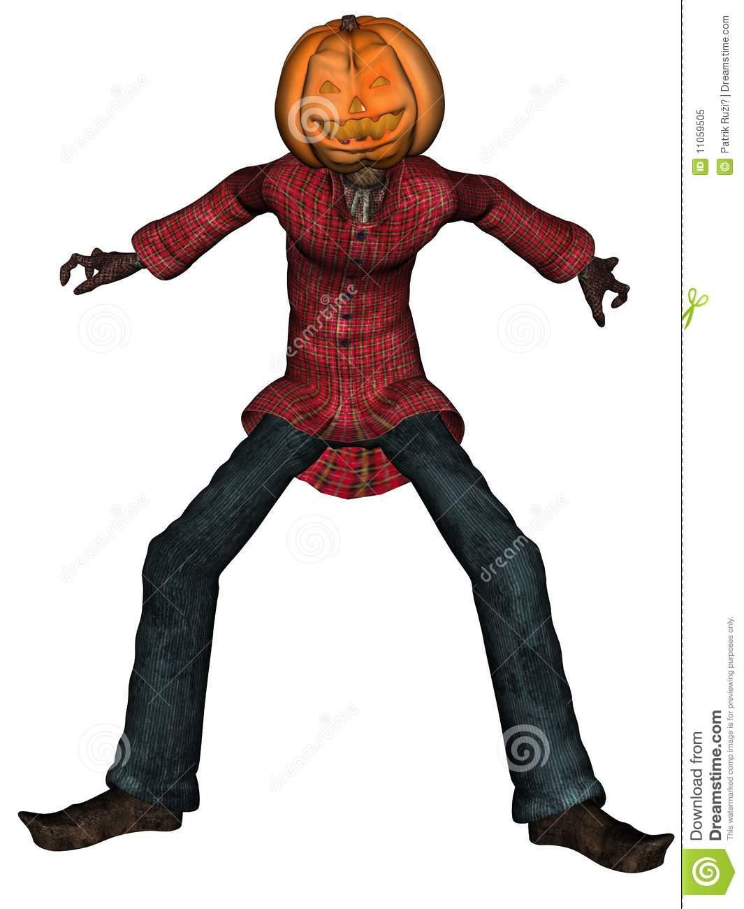 Halloween Man With Pumpkin Head Royalty Free Stock Photo.