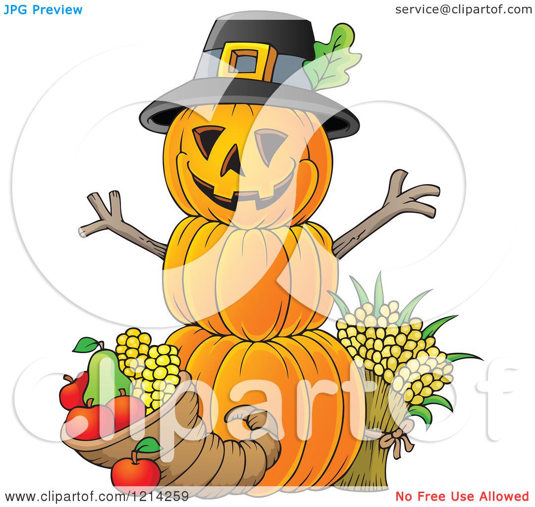 Clipart of a Thanksgiving Pumpkin Man with a Cornucopia.