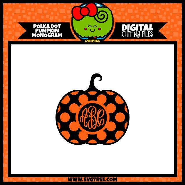 Halloween SVG, Pumpkin Monogram SVG, Polka Dot SVG, Commercial.