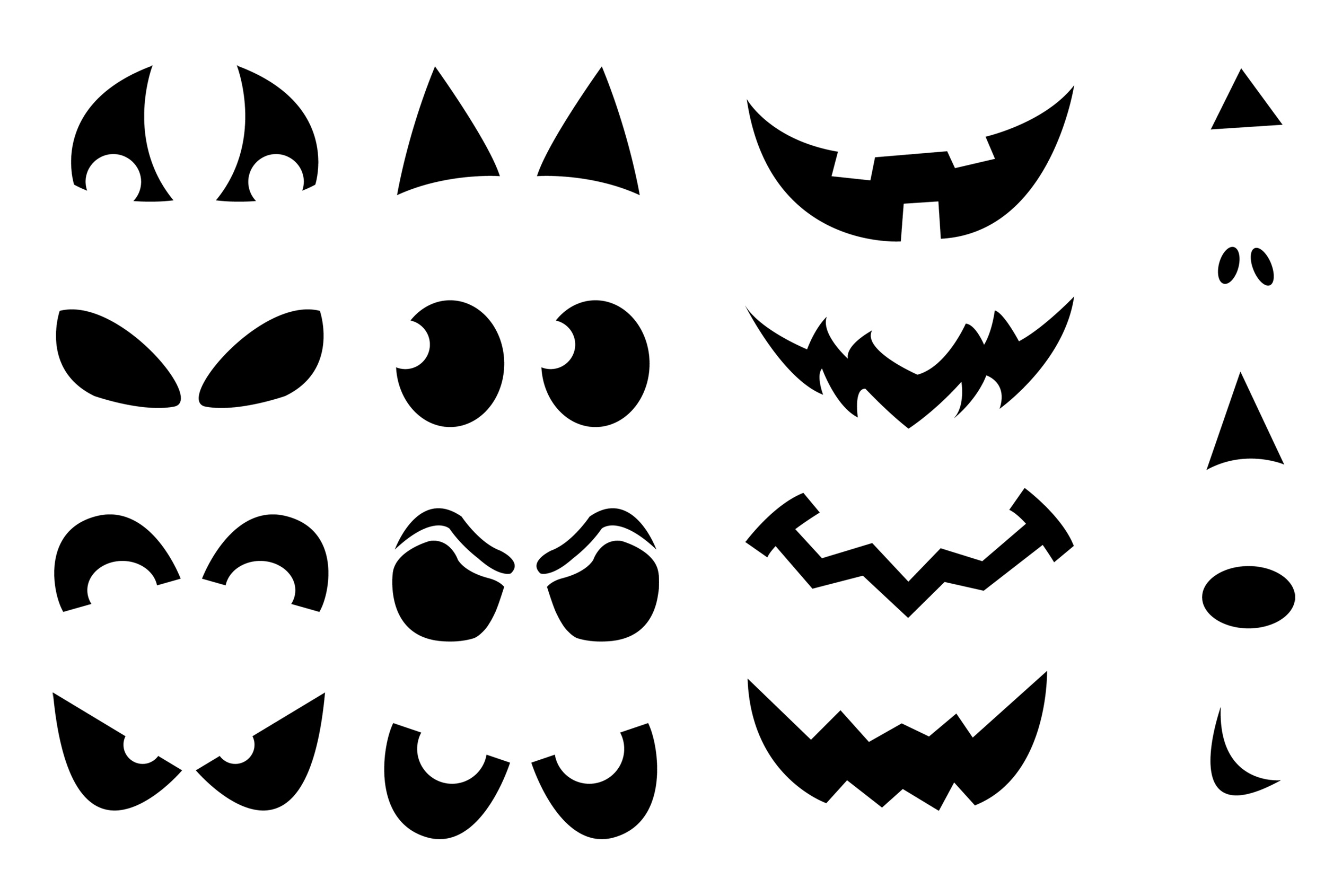 Printable Pumpkin Carving Cutouts For Halloween.