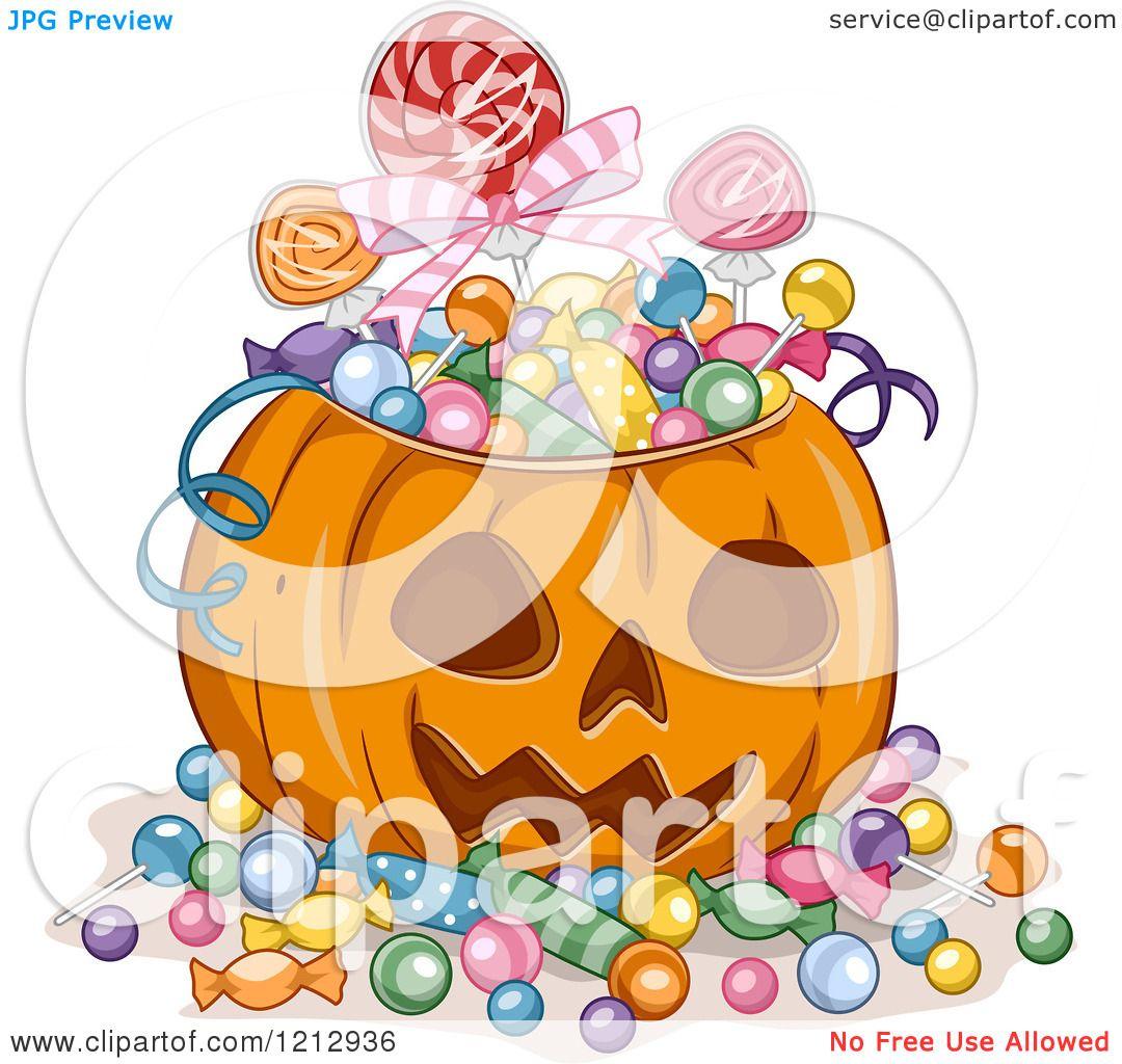 Clipart of a Halloween Jackolantern Pumpkin Full of Candy.
