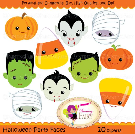 Halloween clipart Halloween Party Faces Digital images Dracula.