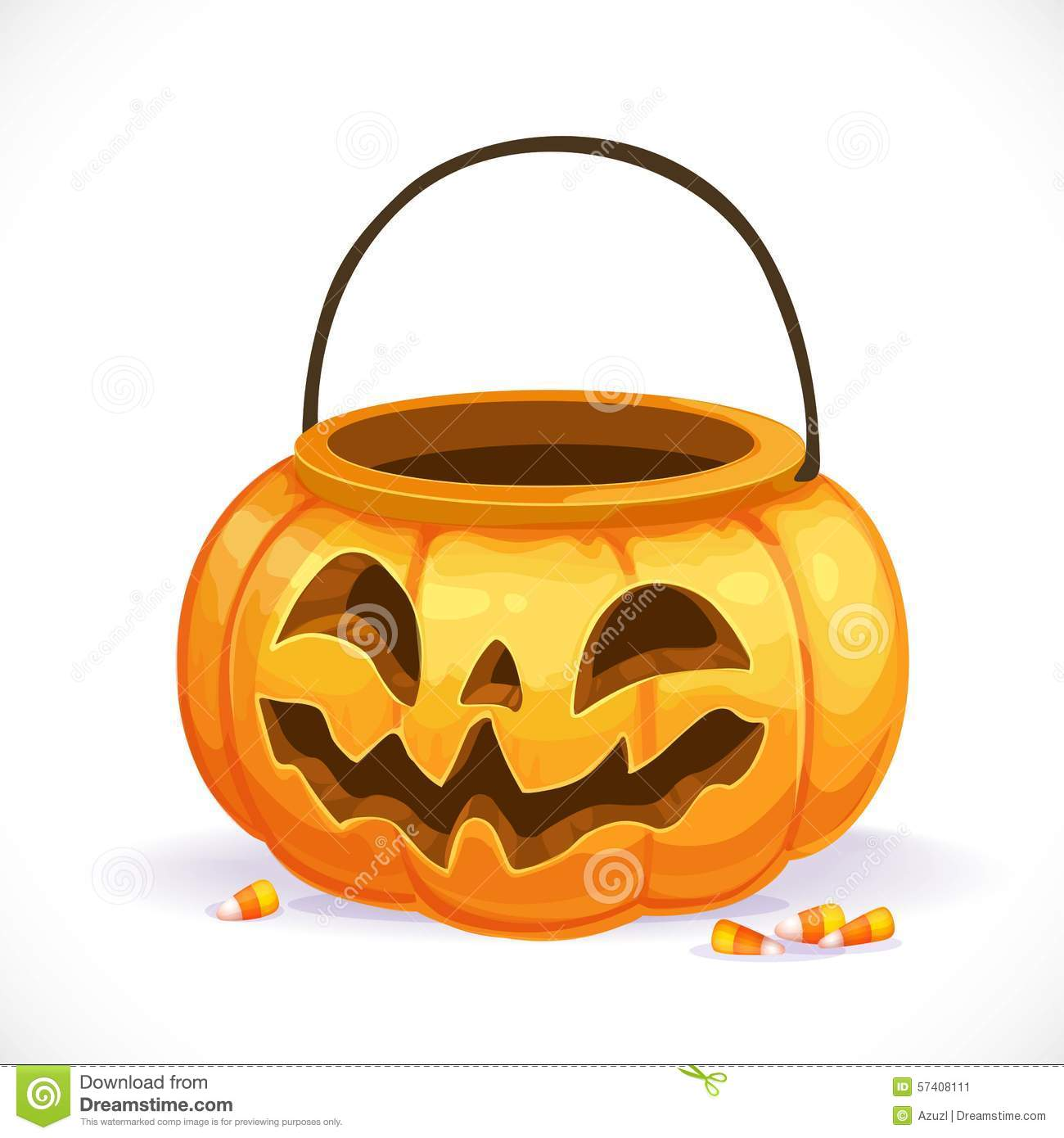 Orange Pumpkin Basket To Collect Candy On Halloween Stock Vector.