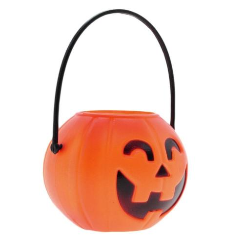 Halloween Prop Gift Candy Sweet Holder Smile Plastic Pumpkin.