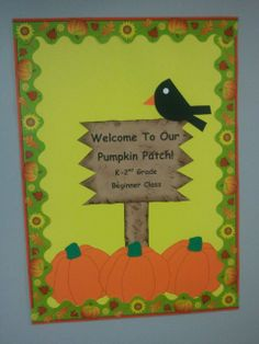 Fall Pumpkin Patch Classroom Door Decoration.