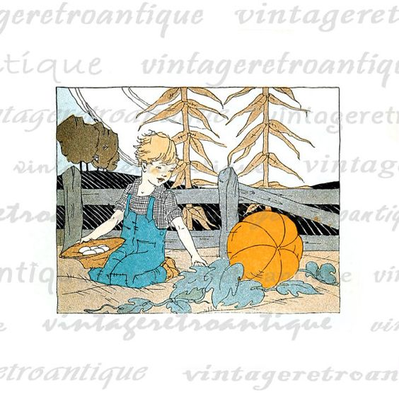 Digital Image Boy in Pumpkin Patch Download Graphic Color.