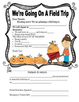 Pumpkin Patch Field Trip Form.