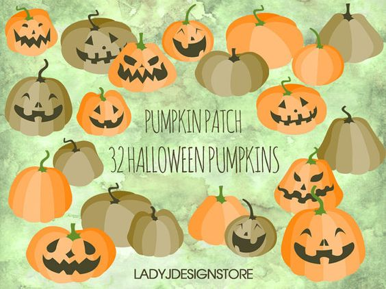 Halloween Pumpkin Patch Clip Art 32 Digital by ladyjdesignstore.