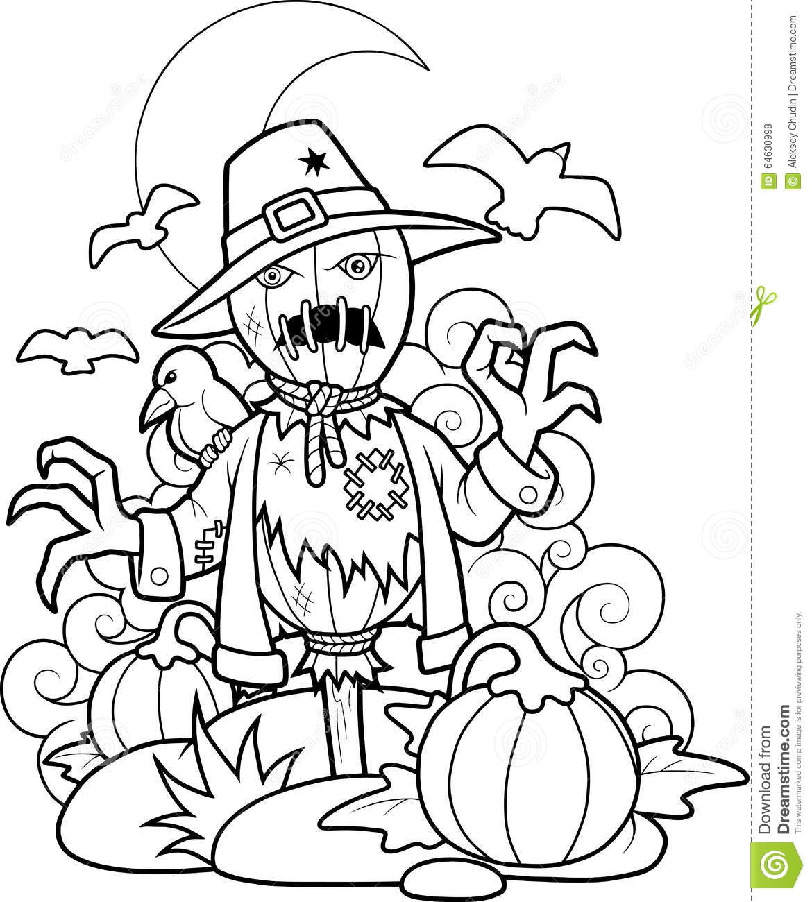 Scarecrow In Pumpkin Patch Stock Vector.