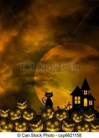 Stock Illustration of Halloween Carved Pumpkin Patch Cat Moon.