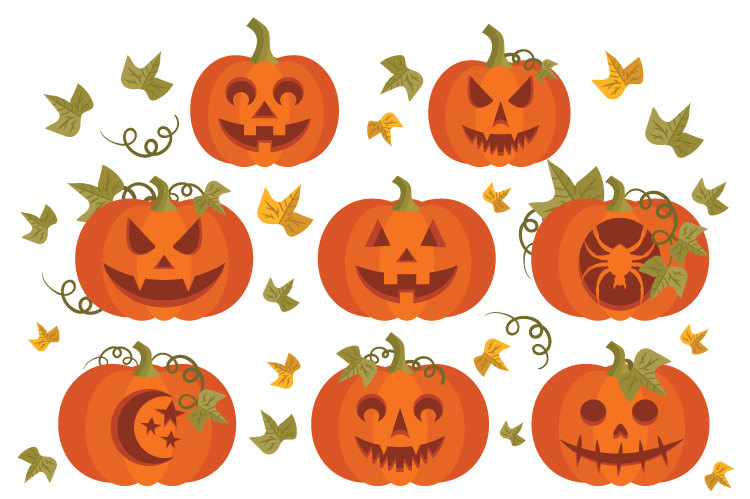 Carved Pumpkins Clip Art.