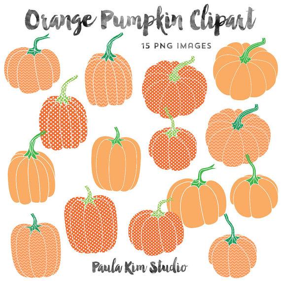 Orange Pumpkin Clip Art, Chevron and Polka Dot Pattern.