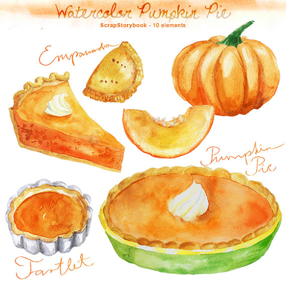 Watercolor Pumpkin Pie Set.