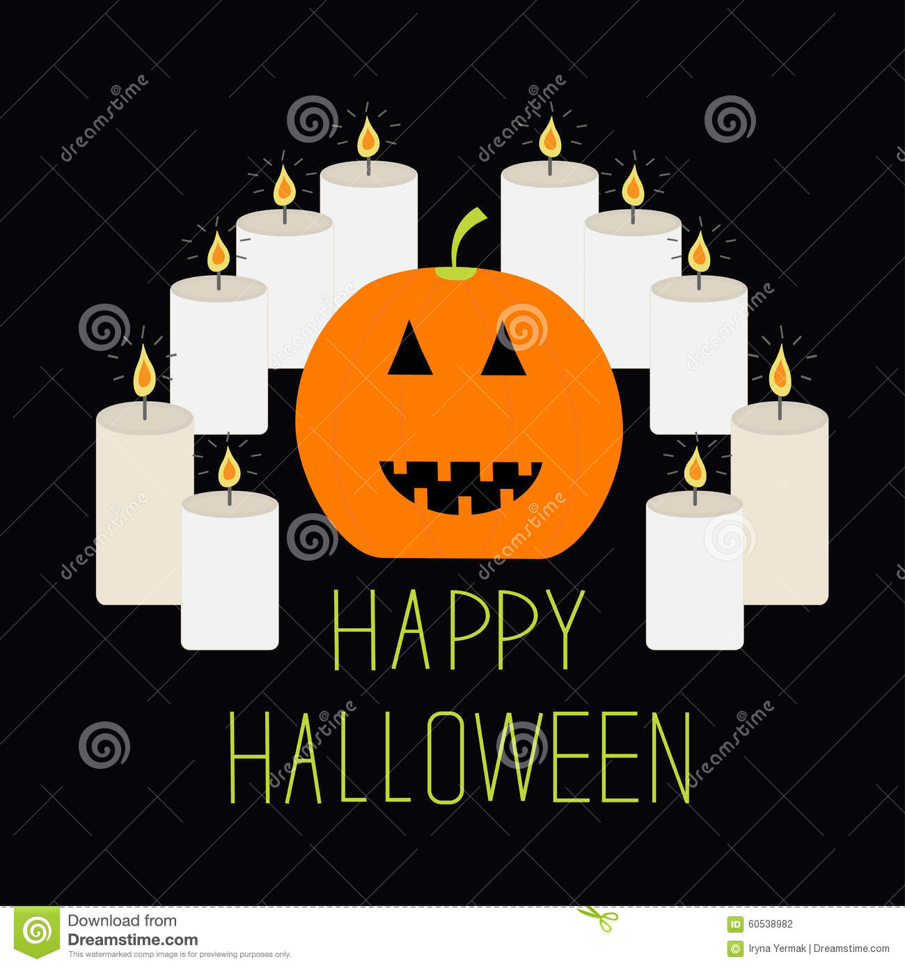 Cute Funny Pumpkin. Candle Pyramid. Halloween Card. Flat Design.