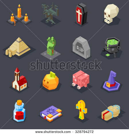 Vector Images, Illustrations and Cliparts: Halloween Icons Set.