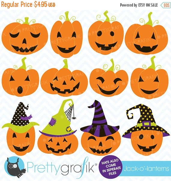 80% OFF SALE pumpkin jack o lantern clipart, commercial use.