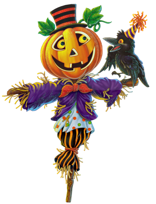 Scarecrow and pumpkin clipart 3.