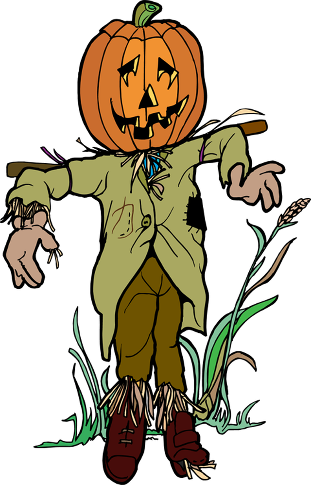 Scarecrow and pumpkin clipart 2.
