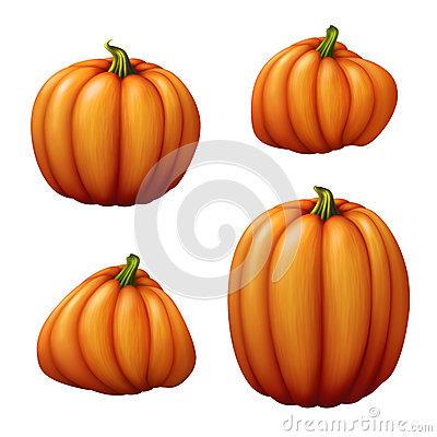 Set Of Assorted Shapes Pumpkins Clip Art Illustration, Vegetables.