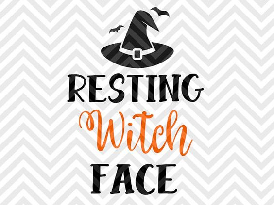 Resting Witch Face Halloween pumpkin broom fall candy SVG file.
